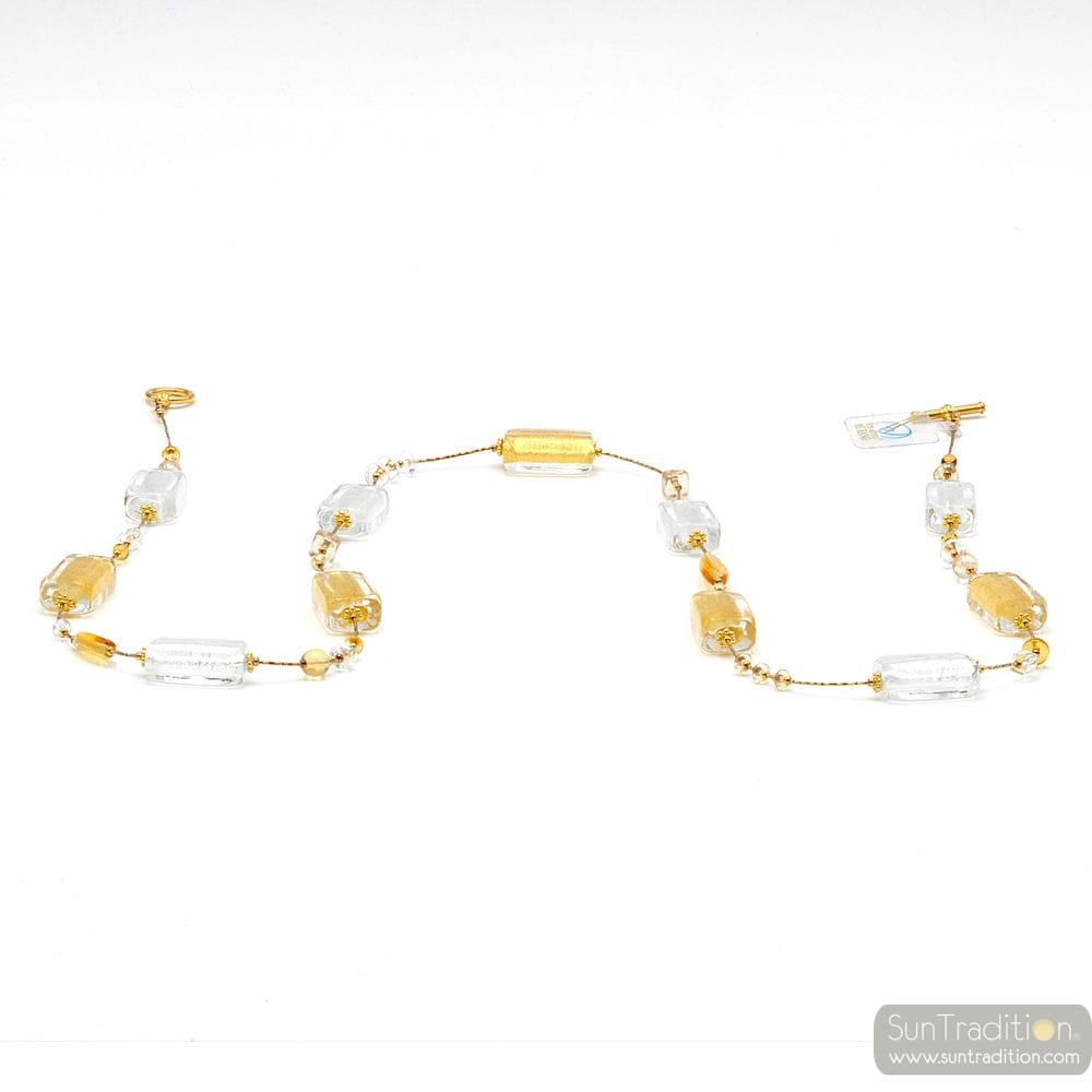 LONG GOLD NECKLACE JEWELLERY AND GENUINE MURANO GLASS OF VENICE