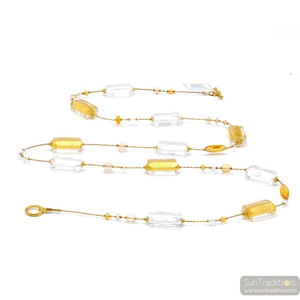 SAUTOIR NECKLACE LONG GEM GOLD GENUINE MURANO GLASS OF VENICE