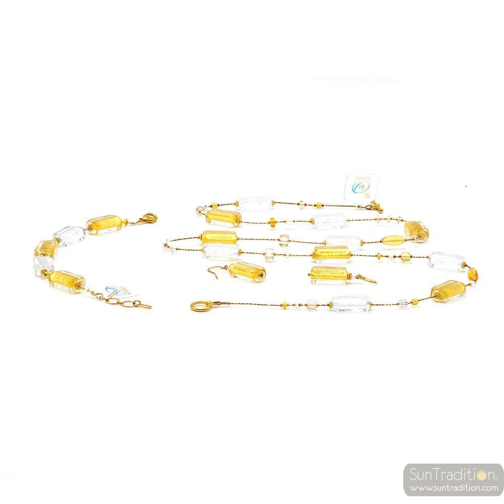 GOLD JEWELRY SET GENUINE MURANO GLASS OF VENICE