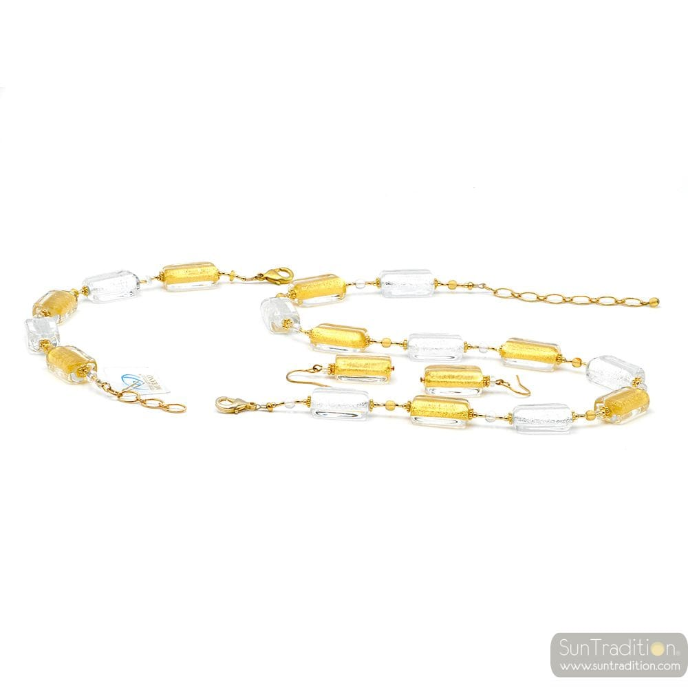 JEWELLERY SET GOLD AND REAL GLASS MURANO OF VENICE