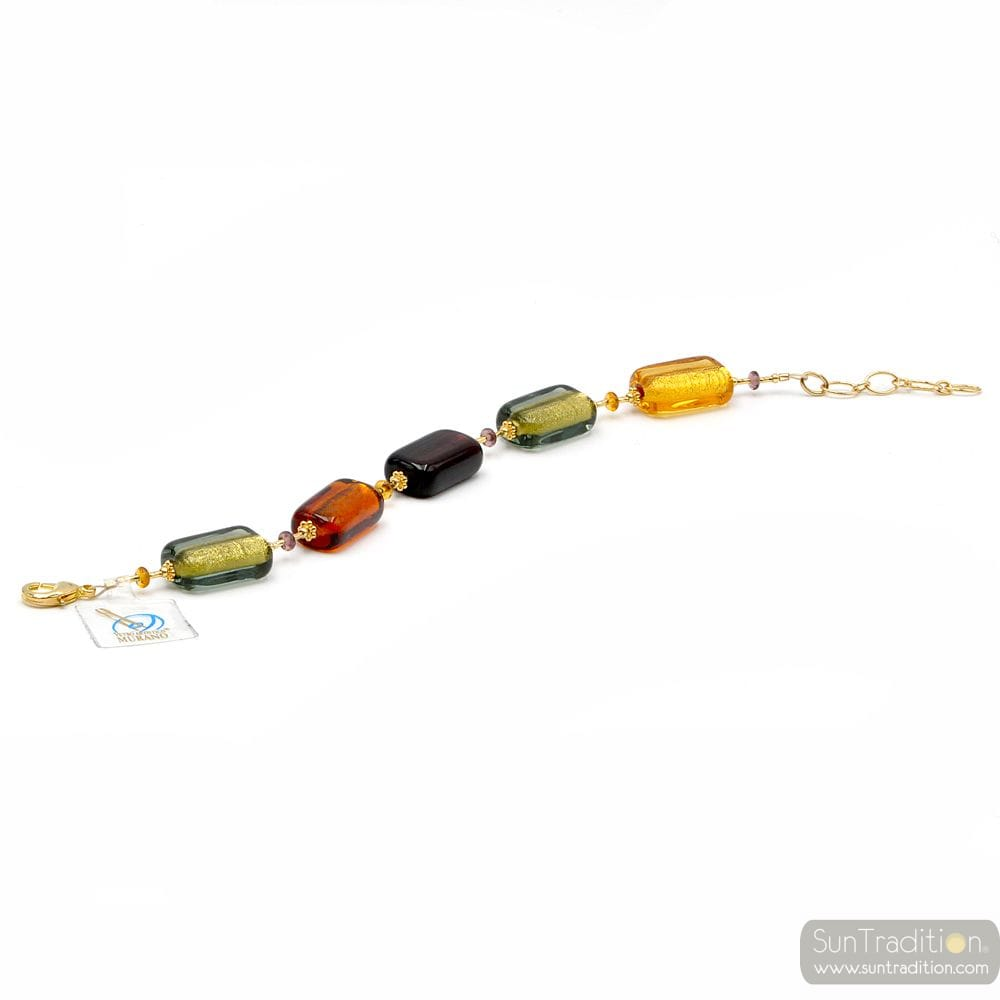 Amber Murano glass bracelet Genuine Murano Jewel of Venice