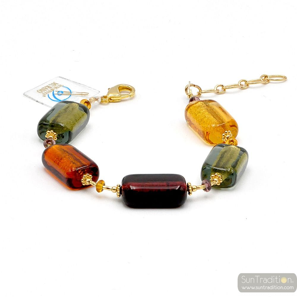 4 SEASONS AUTUMN - AMBER MURANO GLASS BRACELET GENUINE VENITIAN JEWEL