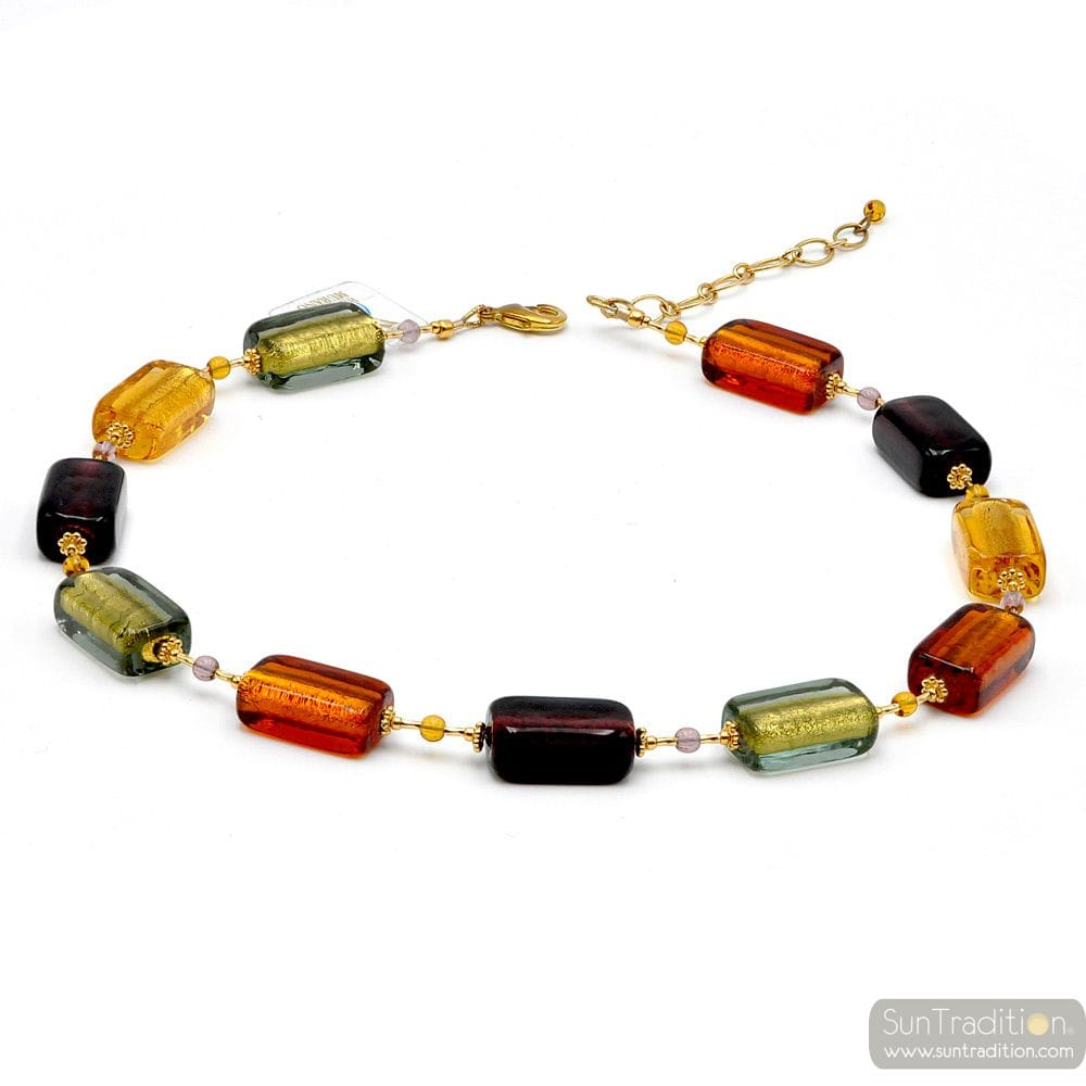 4 SEASONS AUTUMN - MULTICOLOUR MURANO GLASS NECKLACE JEWELRY GENUINE OF VENICE