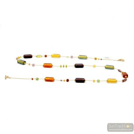 NECKLACE LONG MULTI-COLORED ITALIAN JEWELRY IN GOLD AND MURANO GLASS