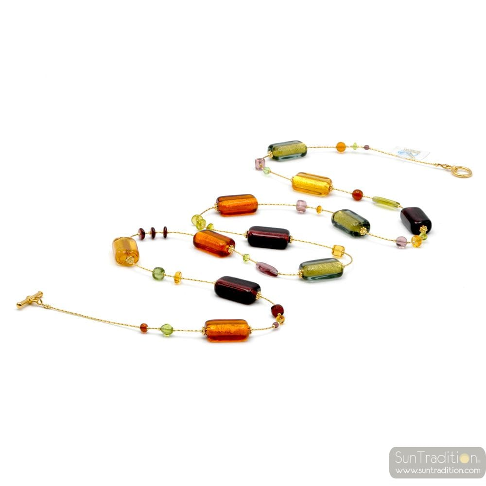 NECKLACE MULTI-COLORED JEWELRY ITALIAN GOLD AND MURANO GLASS