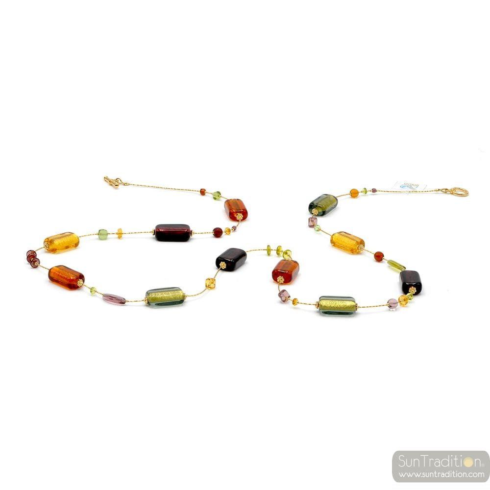 NECKLACE JEWELRY NECKLACE ITALIAN GOLD AND AMBER MURANO GLASS