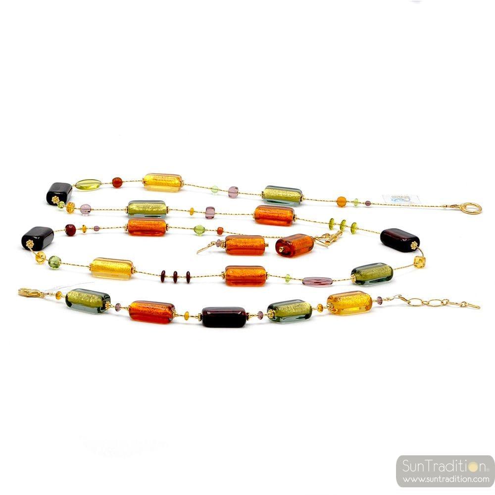 Amber Murano Glass Jewelllery set real Venitian Collar jewel Italy