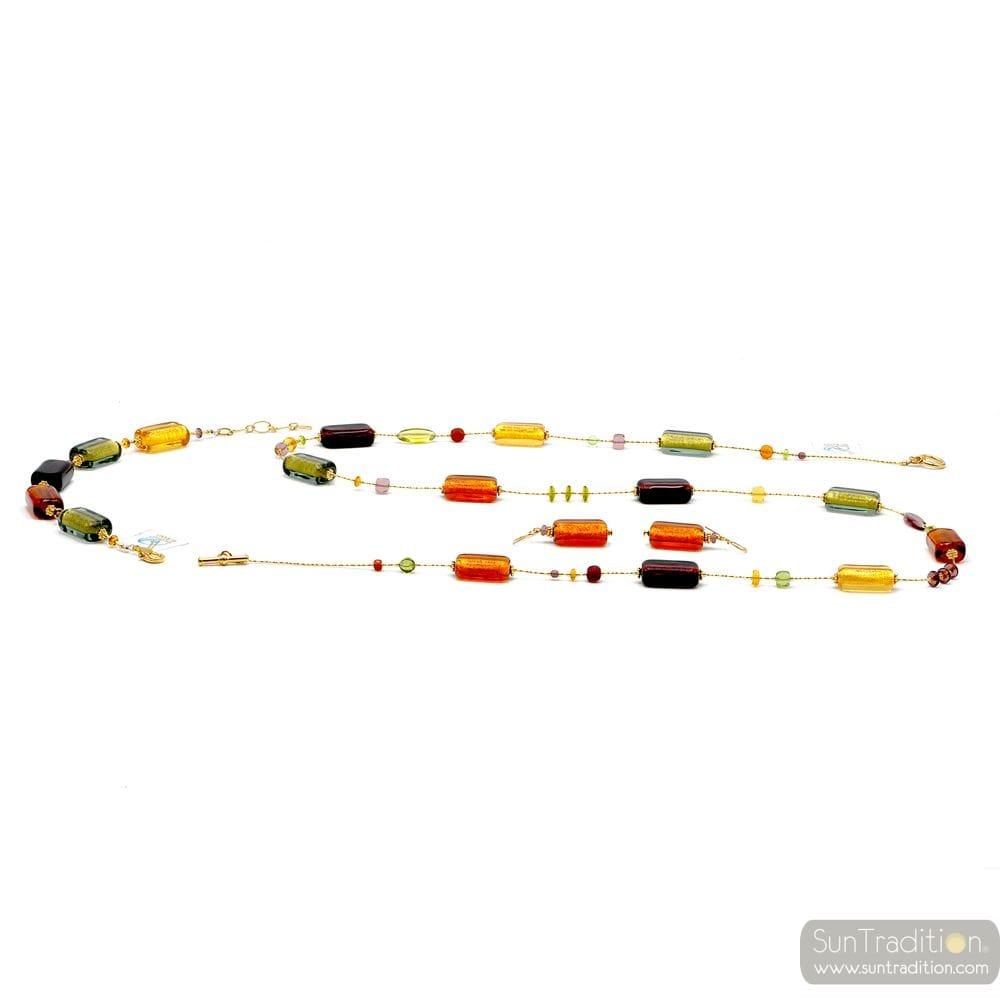 Amber Murano Glass Jewelllery set real Venitian jewel Italy