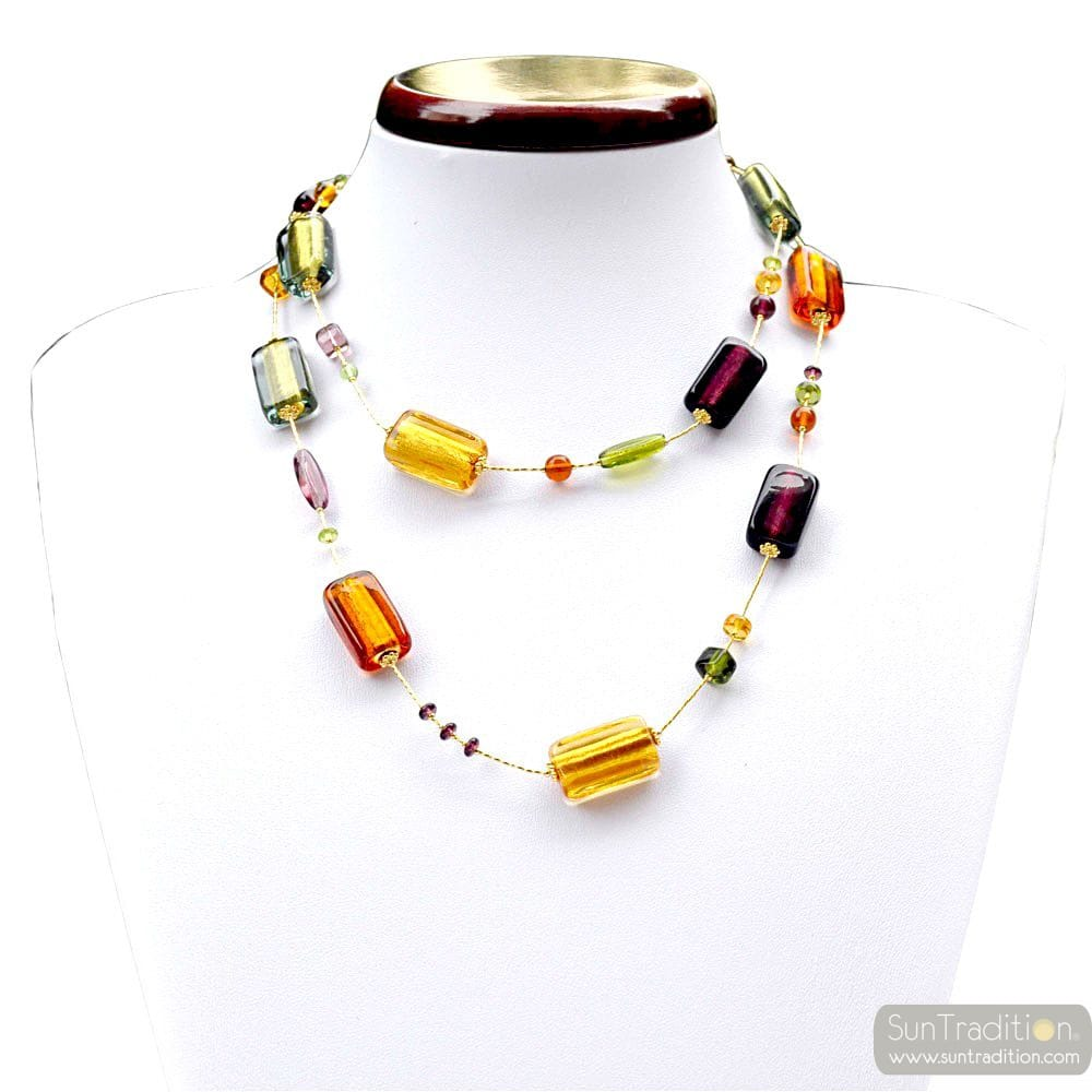 NECKLACE MURANO GOLD AMBER LONG JEWELRY OF VENICE