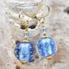FIZZY BLUE EARRINGS GENUINE VENICE MURANO GLASS