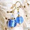 FIZZY BLUE EARRINGS GENUINE VENICE MURANO GLASS