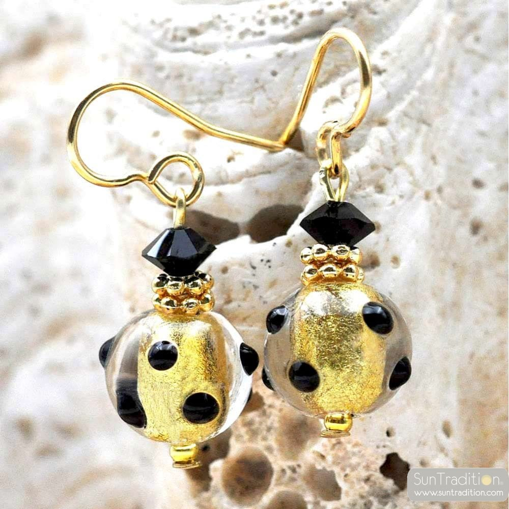 BLACK AND GOLD EARRINGS GENUINE MURANO GLASS VENICE