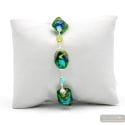 Sasso bicolore green - Green and blue Murano glass bracelet real jewel of Venice Italy