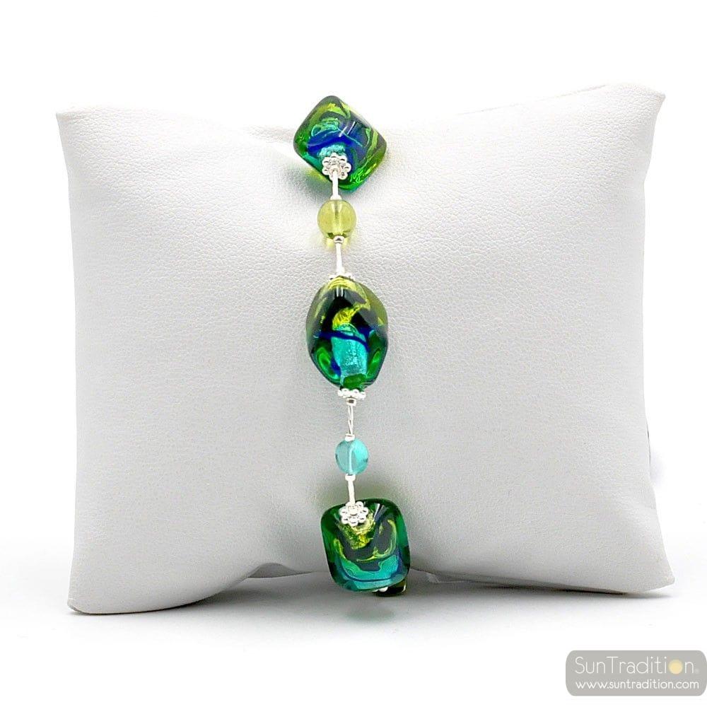 armband aus muranoglas gr n und blau. Black Bedroom Furniture Sets. Home Design Ideas