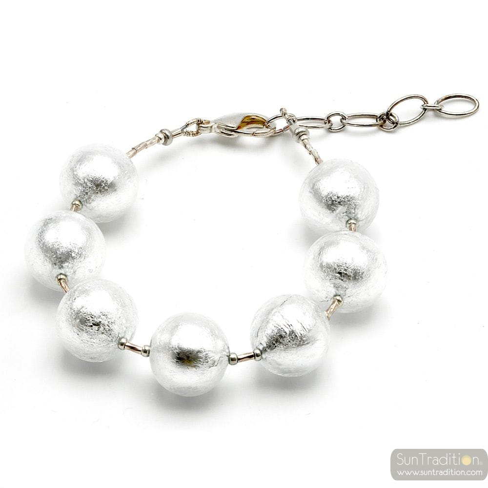 Ball silver- Genuine Silver Murano glass bracelet from Venice