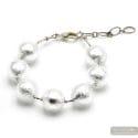 Ball silver- Genuine Silver Murano glass bracelet from Venice