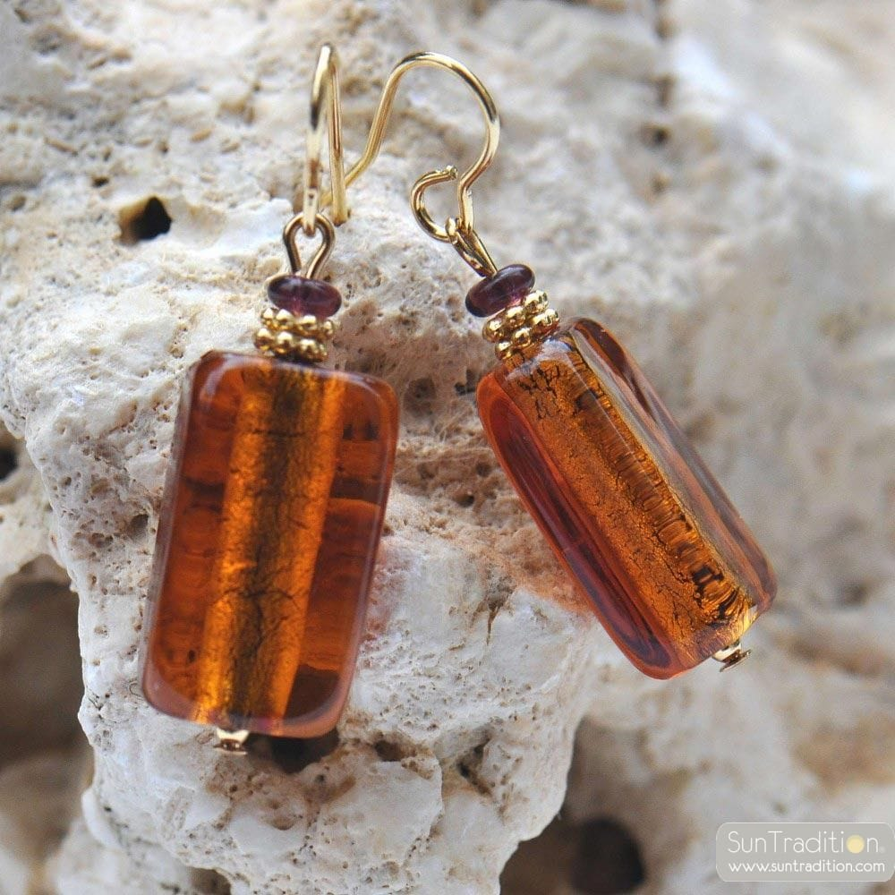 4 SEASONS - AMBER EARRINGS GENUINE MURANO GLASS VENICE