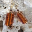 4 SEASONS AMBER EARRINGS GENUINE MURANO GLASS VENICE
