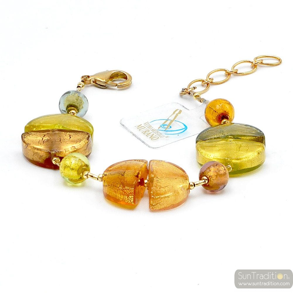 Gold Murano glass bracelet Venice