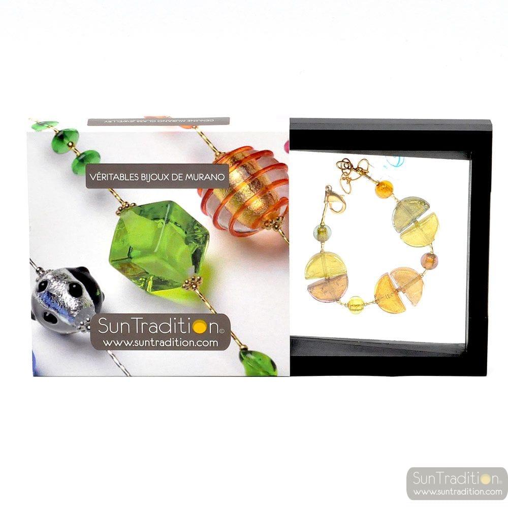 Colorado gold necklace - Gold Murano glass bracelet Venice