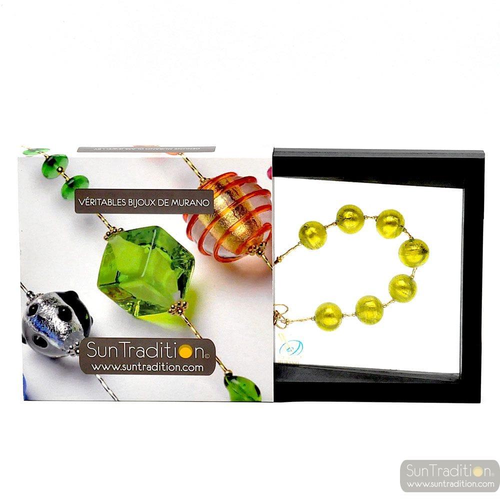 Ball Lime Bracelet - Genuine Murano glass bracelet Venice