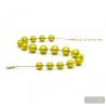 goldl anise green - Green anise and gold Murano glass beads necklace real venitian jewel of Italy