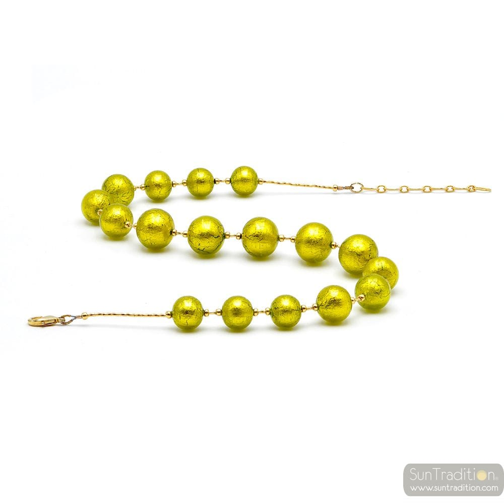 LIME GREEN AND GOLD NECKLACE GENUINE MURANO GLASS OF VENICE