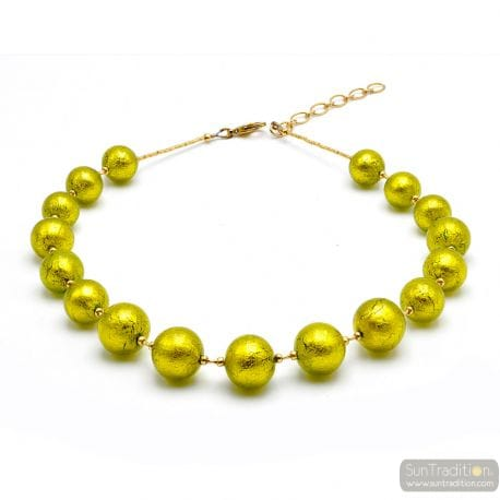 Ball anise green - Green anise Murano glass beads necklace real venitian jewel of Italy