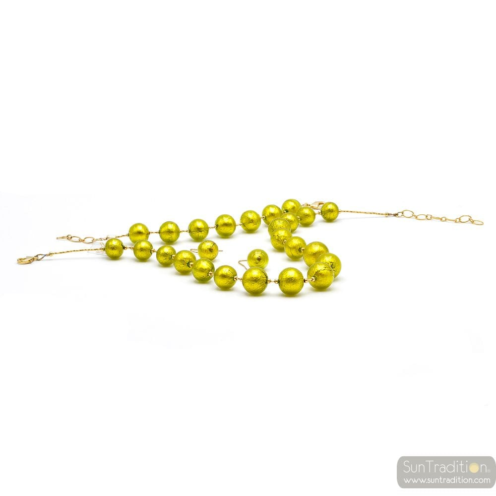 BALL ANIS GREEN JEWELLERY SET IN REAL MURANO GLASS VENICE