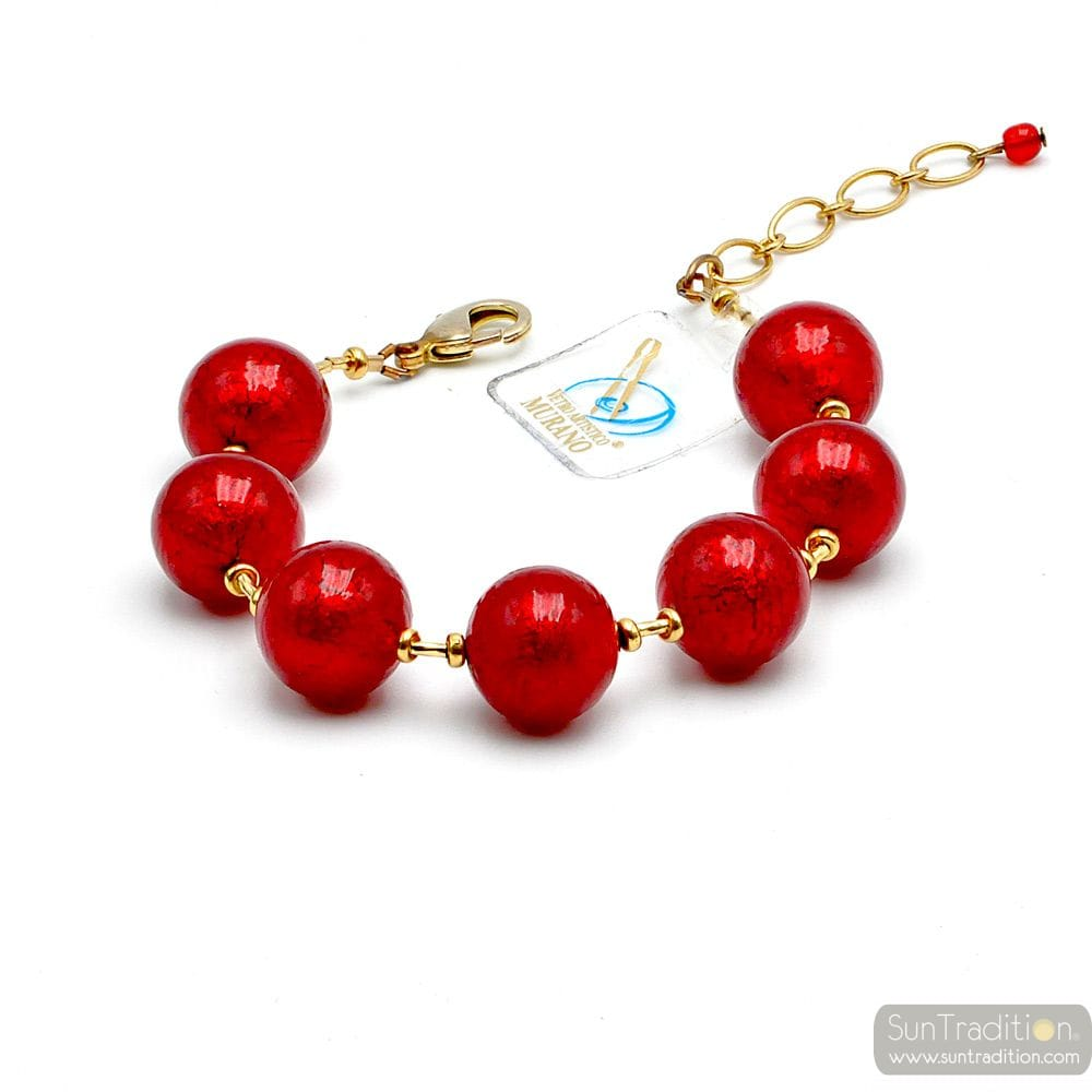 BALL ROUGE ET OR - BRACELET ROUGE EN VERITABLE VERRE DE MURANO DE VENISE