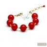 Ball red and gold bracelet - Genuine Murano glass Bracelet from Venice