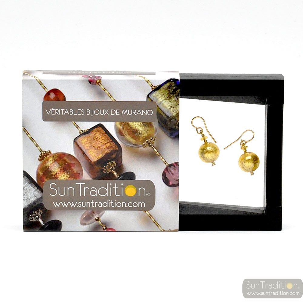 BALL GOLD EARRINGS - GOLD EARRINGS GENUINE VENICE MURANO GLASS