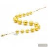 Ball gold collar - Gold pearls murano glass necklace true italian jewel from Venice