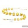 Ball gold collar - Gold ball pearls murano glass collar true italian jewel from Venice