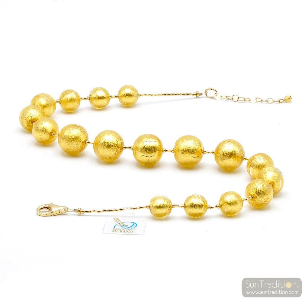 GOLD FANTASY NECKLACE GOLD JEWELRY GENUINE MURANO GLASS OF VENICE
