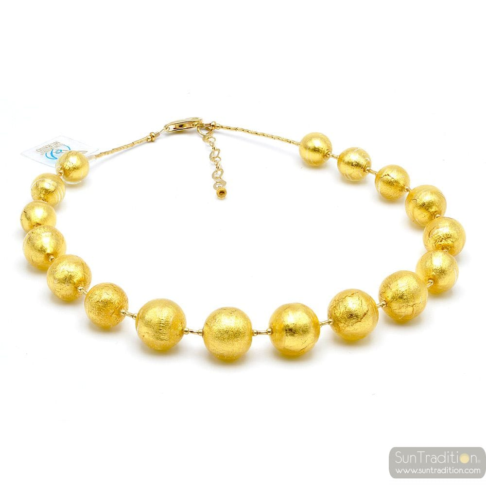 Ball gold - Gold ball pearls murano glass necklace true italian jewel from Venice