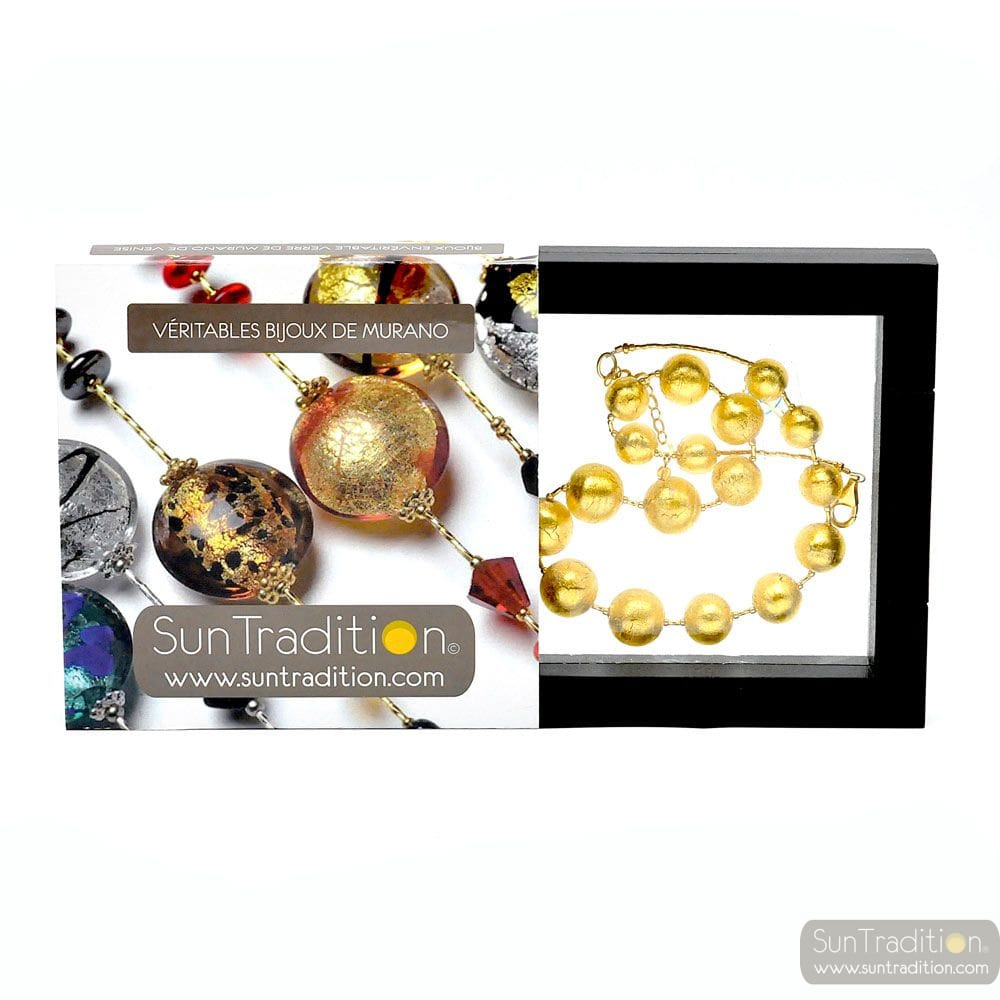 NECKLACE BALL GOLD NECKLACE JEWELRY GOLD GENUINE MURANO GLASS OF VENICE