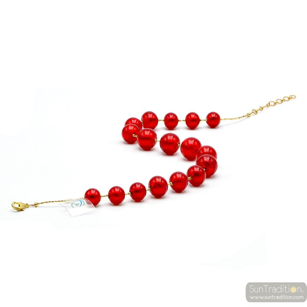 RED COLLAR MOCK - NECK COLLAR JEWELRY RED GENUINE MURANO GLASS OF VENICE