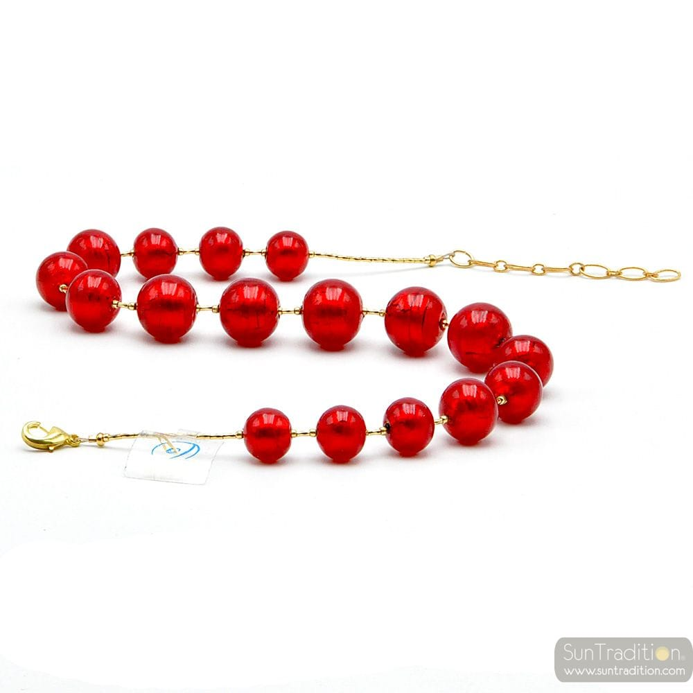 RED COLLAR AND GOLD - COLLAR RED GENUINE MURANO GLASS OF VENICE