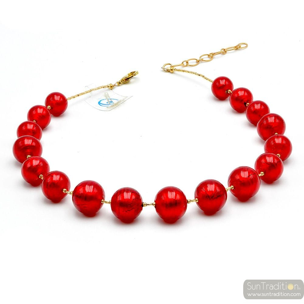 Red Murano glass beads necklace real venitian jewel of Italy