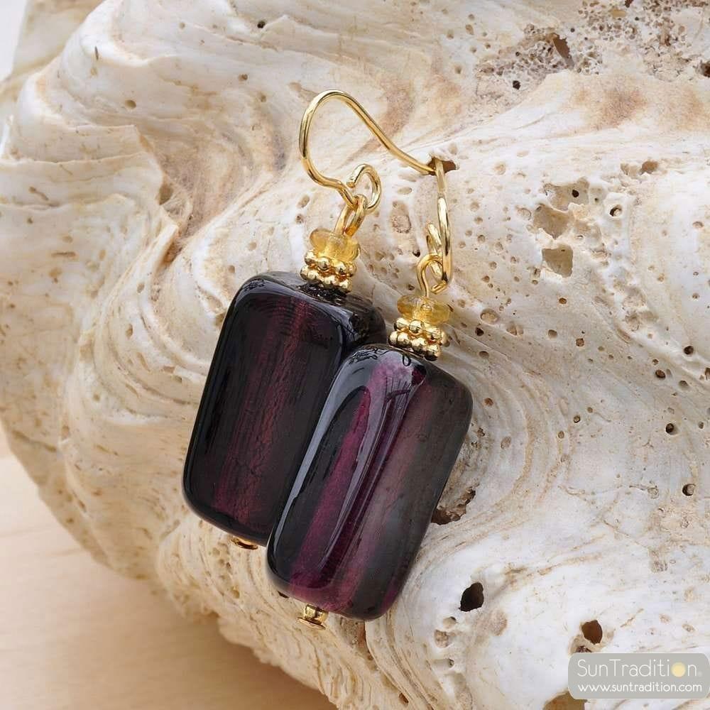 BLUEBERRY MURANO GLASS EARRINGS
