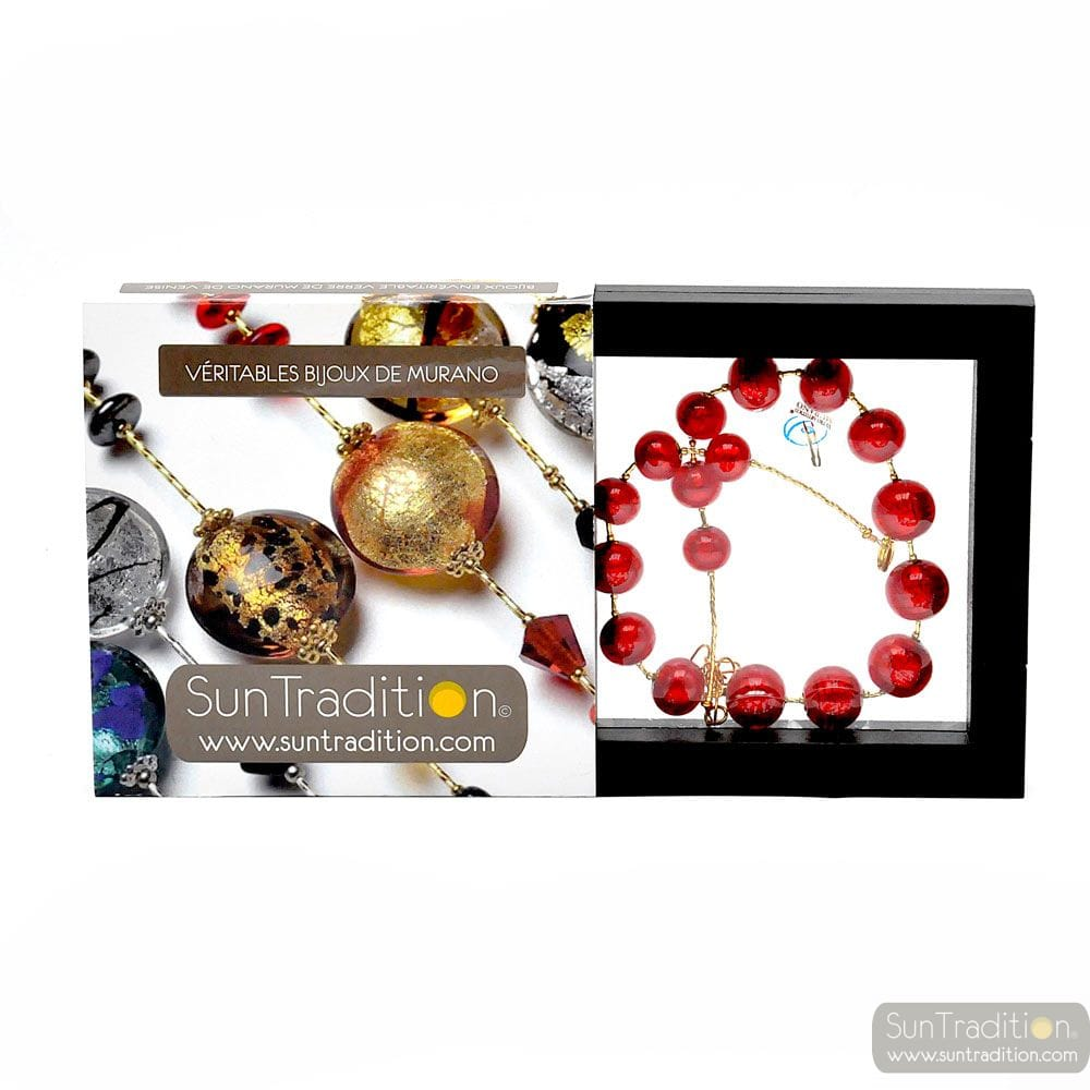 COLLIER BALL ROUGE - COLLIER ROUGE BIJOU EN VERITABLE VERRE DE MURANO DE VENISE