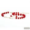 BALL RED AND GOLD JEWELRY SET IN REAL MURANO GLASS VENICE