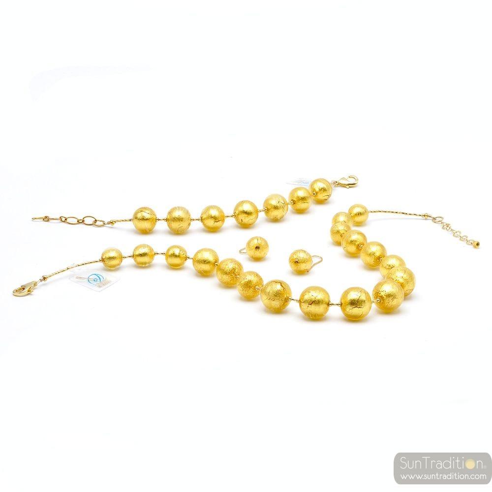Murano glass gold jewellerey set - Gold ball pearls murano glass jewellery set true italian jewel from Venice