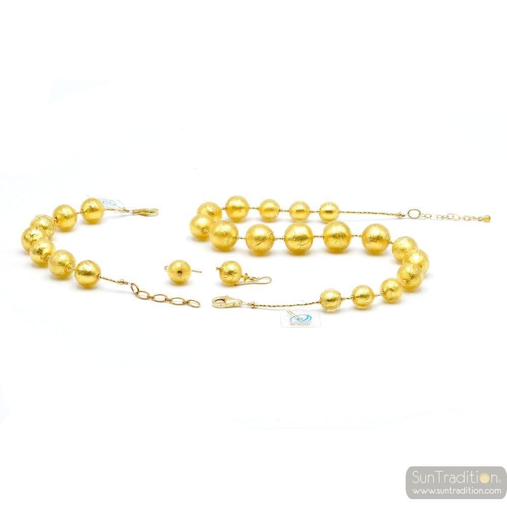SIERADEN SET BAL GOUD - PARURE GOLD JEWELRY IN ORIGINELE MURANO GLAS UIT VENETIË