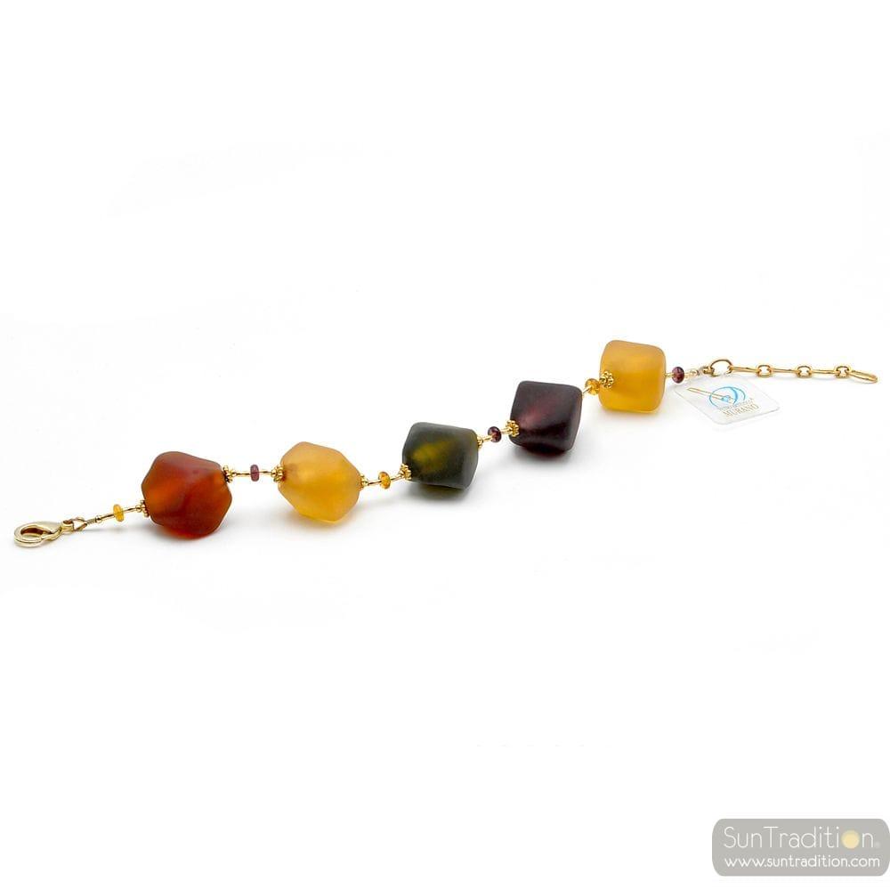 Large gold murano beads bracelet - Gold and glass Murano bracelet venitian jewellry Italy