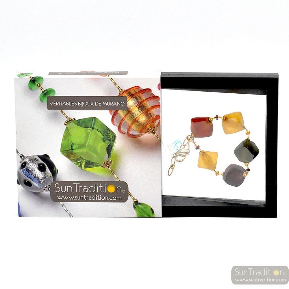 Scoglio color fall - Gold and glass Murano bracelet venitian jewellry Italy
