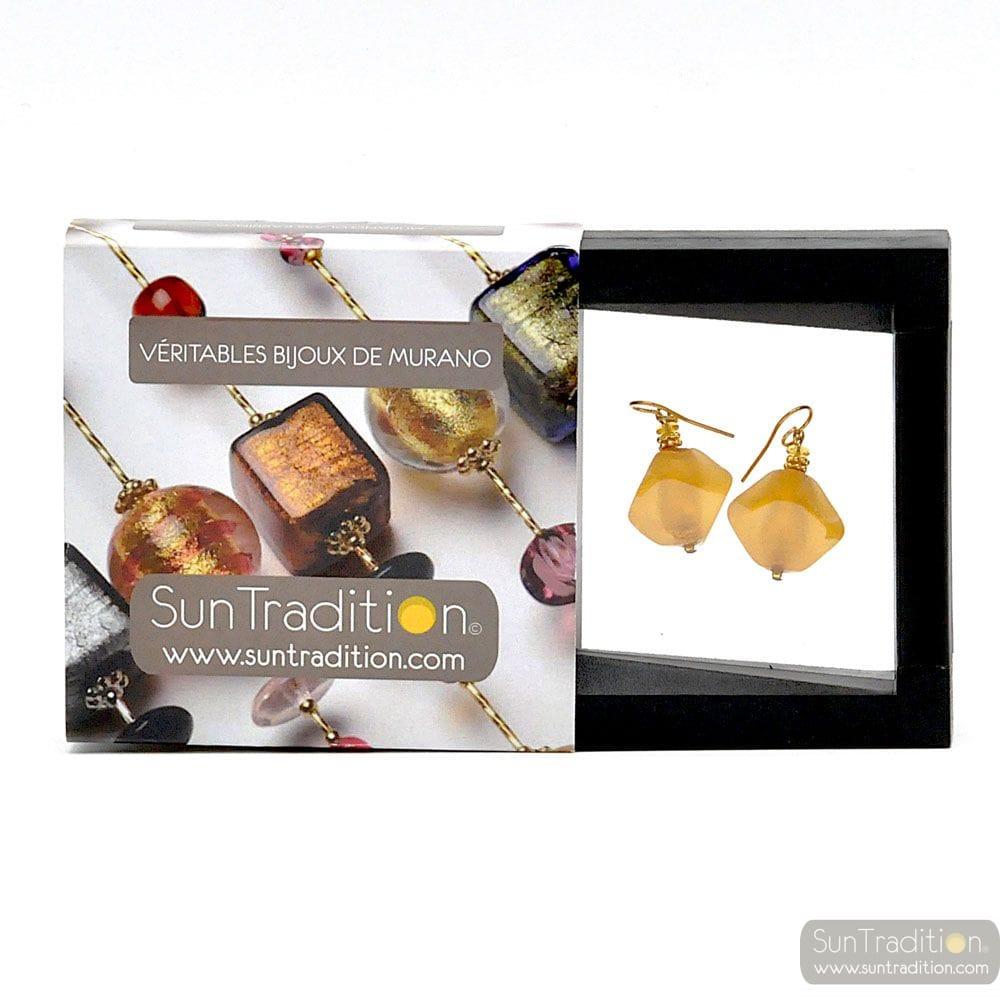 SCOGLIO SATIN GOLD EARRINGS GENUINE VENICE MURANO GLASS
