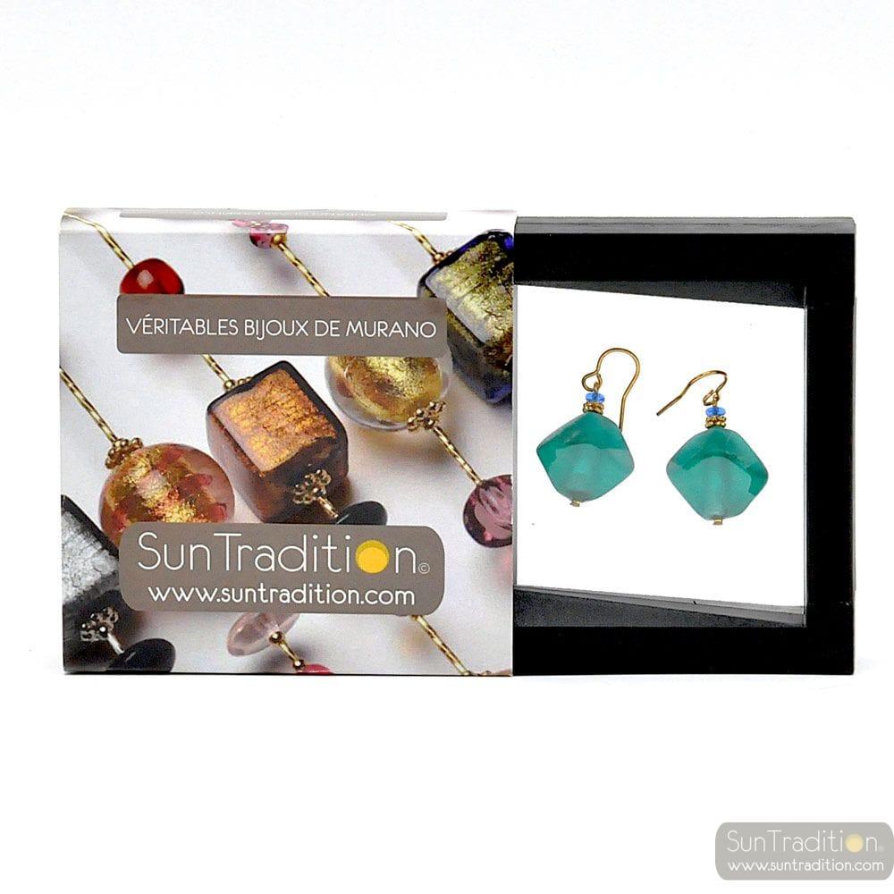 SCOGLIO SATIN GREEN EARRINGS GENUINE VENICE MURANO GLASS