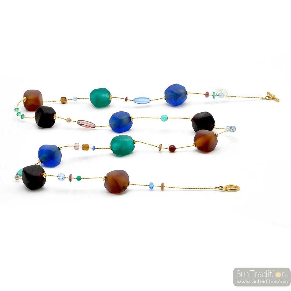 LONG BROWN AND BLUE GOLD MURANO GLASS NECKLACE